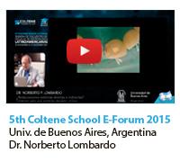 5th Coltene School E-Forum 2015 Universidad de Buenos Aires, Argentina.  Dr. Norberto Lombardo